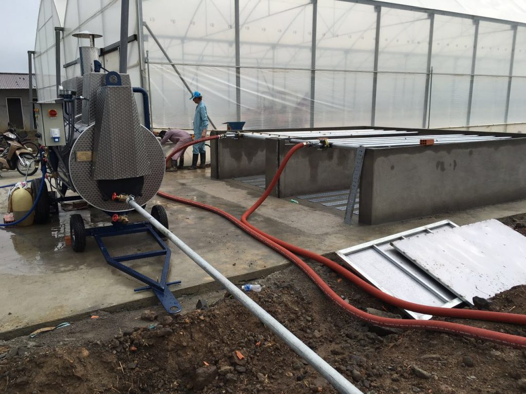 Steaming of coco peat in special steaming bunkers with vacuum system