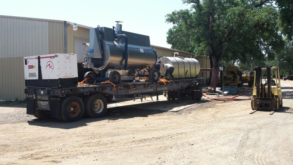 MSD steam boiler S 2000 incl. heating oil supply, mounted on a special trailer
